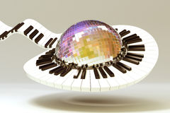 Piano Key around Disco Ball. 3d image of piano key revolving around disco mirror ball Stock Photos