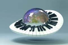 Piano Key around Disco Ball. 3d image of piano key revolving around disco mirror ball royalty free illustration
