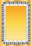 Piano key frame. This image is piano key around the frame in golden and orange yellow color design with empty space template stock image