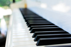 Piano key on white piano Royalty Free Stock Images