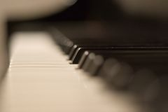 Piano Keyboard. Depth of field shot of a piano keyboard Stock Images