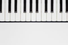 Piano keyboard. View from above of a piano keyboard on the upper half of frame. Copy space on the lower half Stock Images