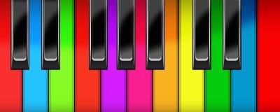 Piano keyboard. Black and multi-coloured keys of a piano Royalty Free Stock Photo