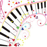Piano keyboard. On a white background with notes and hearts for Valentine holiday Royalty Free Stock Image