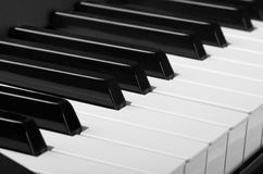 Piano keyboard. White and black keys. Close up of piano keyboard stock images