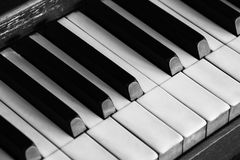 Piano Keyboard. Black and white version of a stand up piano Stock Image