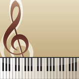 Piano keyboard. Music background with piano keyboard and violin key Royalty Free Stock Image