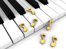 Piano keyboard. 3d illustration of piano keyboard with golden note signs Royalty Free Stock Photo