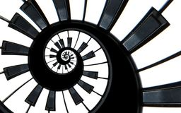 Piano keyboard abstract fractal spiral pattern background. Black and white piano keys round spiral. Spiral stair. Piano concept pa. Ttern abstract background Stock Images