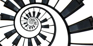 Piano keyboard abstract fractal spiral pattern background. Black and white piano keys round spiral. Spiral stair. Piano concept pa stock illustration