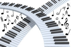 Piano keyboard abstract. With musical notes,  on white 3d illustration Stock Images