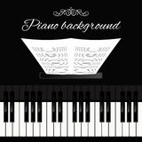 Piano keyboard background. Music concert grand piano instrument keyboard background template vector illustration Royalty Free Stock Photography
