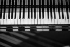 Piano keyboard background with selective focus. Blur keyboard and musical notes Royalty Free Stock Images