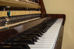 Piano keyboard background with selective focus. Stock Images