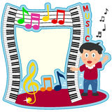 Piano Keyboard Boy Photo Frame. A funny cartoon photo frame with a boy, wavy piano keyboards and musical notes. Eps file available Royalty Free Stock Photography