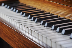 Piano keyboard. Close up of piano keyboard with limited depth of field royalty free stock photography
