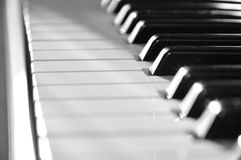 Piano keyboard. Close-up view of piano keyboard, blurred, RAW format stock images