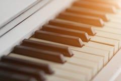 Piano keyboard closeup with sunlight. Royalty Free Stock Photos