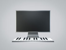 Piano keyboard computer on white background. Piano keyboard computer digital music production on white background Royalty Free Stock Image