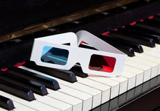 Piano keyboard with 3D glasses Stock Image