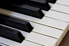 Piano keyboard detail. A detail of old piano keyboard with ivory keys Royalty Free Stock Photos