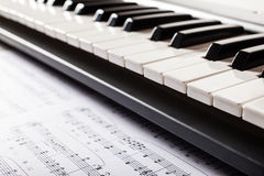 Piano keyboard detail Stock Photography
