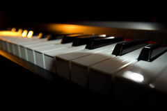 Piano keyboard. (piano / digital piano, closeup view royalty free stock images