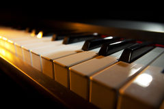 Piano keyboard. (piano / digital piano, closeup view royalty free stock photography