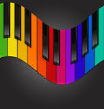 Piano keyboard in the form of waves. Vector colorful piano keyboard in the form of waves on a black background Stock Photo