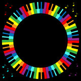 Piano Keyboard Frame. Illustration of rainbow color piano keyboard in circular frame Royalty Free Stock Photography
