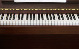 Piano keyboard front. Classic upright piano keyboard black and white front view Royalty Free Stock Photography