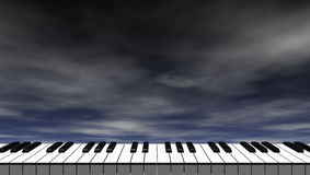 Piano keyboard in front of dark blue sky royalty free illustration
