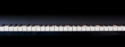 Piano keyboard, front view, copy space Stock Photo