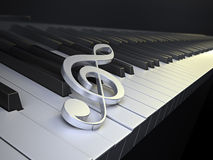 Piano keyboard with G-clef Royalty Free Stock Images