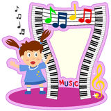 Piano Keyboard Girl Photo Frame. A funny cartoon photo frame with a girl, wavy piano keyboards and musical notes. Eps file available Stock Photography