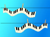 Piano Keyboard Hanging on Clothesline Royalty Free Stock Photo