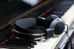 Piano keyboard and headphones Royalty Free Stock Image