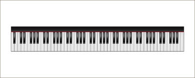 Piano keyboard, 88 keys, isolated Royalty Free Stock Images