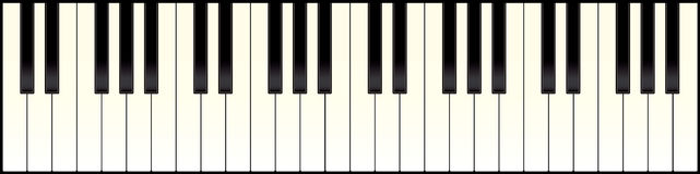 Piano keyboard long. Full size piano keyboard with black and white keys Royalty Free Stock Photo