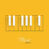 Piano keyboard for Music concept. Creative piano keyboard on yellow background for Music concept Stock Photography