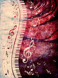 Piano Keyboard with Music Notes Grunge Royalty Free Stock Photography