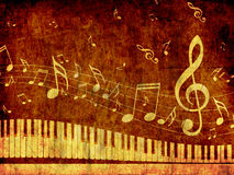 Piano Keyboard with Music Notes Grunge Stock Photography