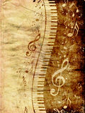 Piano Keyboard with Music Notes Grunge Royalty Free Stock Photo
