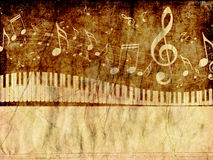 Piano Keyboard with Music Notes Grunge Royalty Free Stock Images