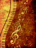 Piano Keyboard with Music Notes Grunge Royalty Free Stock Photos