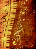 Piano Keyboard with Music Notes Grunge Stock Image