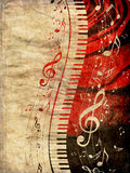Piano Keyboard with Music Notes Grunge Stock Photos