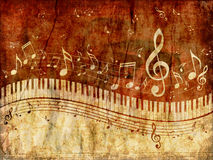 Piano Keyboard with Music Notes Grunge Stock Images