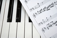 Piano keyboard with music score Royalty Free Stock Images