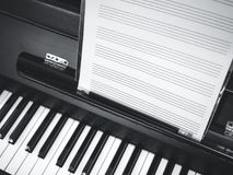 Piano keyboard Music sheet classic music. Black and white Stock Photography